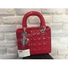 Оригинальная женская сумка Lady Dior красная лаковая 368